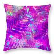 Colorful Abstract Palm Leaves 3 Throw Pillow