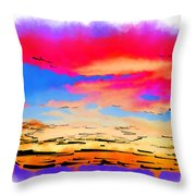 Colorful Abstract Sunset Throw Pillow