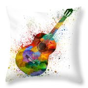 Colorful Acoustic Guitar 02 Throw Pillow