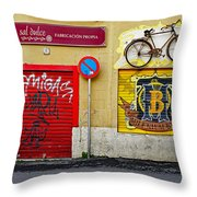 Colorful Advertising In Palma Majorca Spain Throw Pillow
