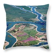 Colorful Aerial Of Commercial Farmland In Stockton - Medford Island - San Joaquin County, California Throw Pillow
