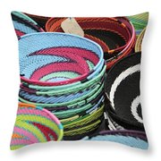 Colorful African Wire Bowls Throw Pillow