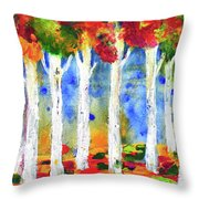 Colorful Aspen Trees View Throw Pillow