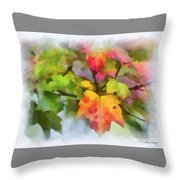 Colorful Autumn Leaves - Digital Watercolor Throw Pillow