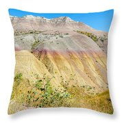 Colorful Badlands Of South Dakota Throw Pillow