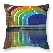 Colorful Bandshell And Swan Throw Pillow