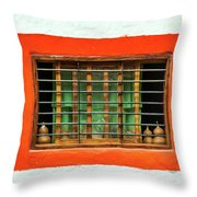 Colorful Bared Window Throw Pillow