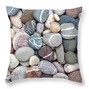 Colorful Beach Pebbles Throw Pillow