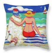 Colorful Beach Woman Sandman Throw Pillow