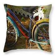 Colorful Bike Throw Pillow