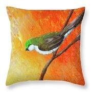 Colorful Bird Art Throw Pillow