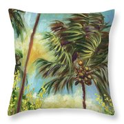 Colorful Blue Hawaiian Plantation House With Red Tin Roof And Sw Throw Pillow