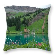 Colorful Blue Lakes Landscape Throw Pillow