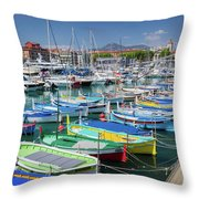 Colorful Boats Docked In Nice Marina, France Throw Pillow