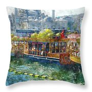 Colorful Boats In Istanbul Turkey Throw Pillow