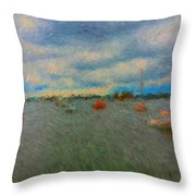 Colorful Boats On Cloudy Day At Boothbay Harbor Throw Pillow