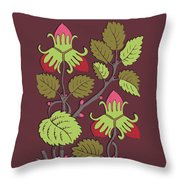 Colorful Botanical Hand Drawn Strawberry Bush Isolated On Vinous Throw Pillow