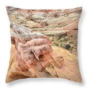 Colorful Boulder Above Wash 3 In Valley Of Fire Throw Pillow