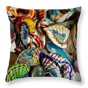 Colorful Bright Corals All In A Row  Throw Pillow