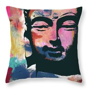 Colorful Buddha 2- Art By Linda Woods Throw Pillow