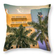 Colorful Building And Palm Trees Throw Pillow
