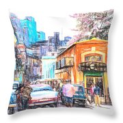 Colorful Buildings And Old Cars In Havana - V3 Throw Pillow