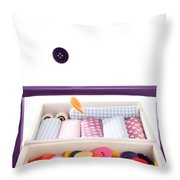 Colorful Buttons Fall Into A Sewing Box Throw Pillow