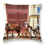 Colorful Cabs Of Malta Throw Pillow