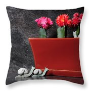 Colorful Cactus In Terracotta Pot Throw Pillow