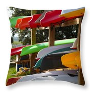 Colorful Canoes Throw Pillow