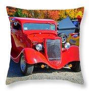 Colorful Car Show Throw Pillow