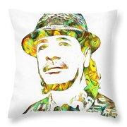 Colorful Carlos Santana Throw Pillow