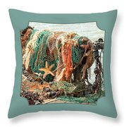 Colorful Catch - Starfish In Fishing Nets Square Throw Pillow