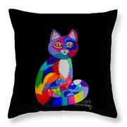 Colorful Cats And Kittens Throw Pillow