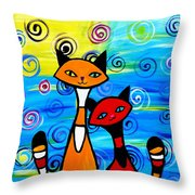 Colorful Cats Throw Pillow