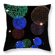 Colorful Christmas Lights Decoration Display In Madrid, Spain. Throw Pillow