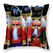 Colorful Christmas Nutcrackers Throw Pillow
