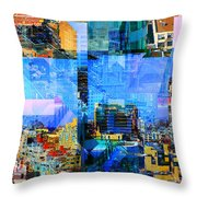 Colorful City Collage Throw Pillow