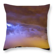 Colorful Cloud To Cloud Lightning Stormy Sky Throw Pillow