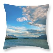 Colorful Clouds At Golden Hour On Lake Wakatipu At Glenorchy, Nz  Throw Pillow