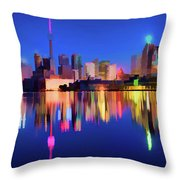 Colorful Cn Tower  Throw Pillow