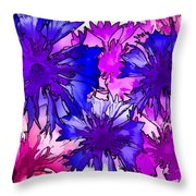 Colorful Cornflowers Throw Pillow