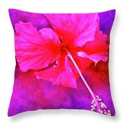 Colorful Cosmic Flower-hibiscus Throw Pillow