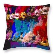 Colorful Costume Masks Throw Pillow