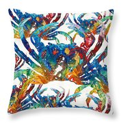 Colorful Crab Collage Art By Sharon Cummings Throw Pillow