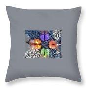 Colorful Crocs Throw Pillow