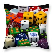 Colorful Dice 2 Throw Pillow
