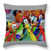 Colorful Dolls Throw Pillow