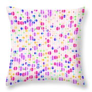 Colorful Dots On Pink Throw Pillow