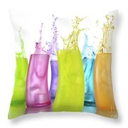Colorful Drink Splashing From Glasses Throw Pillow